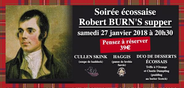 Soirée Robert Burn's Restaurant Hotel La Roche sur Yon le Marie Stuart