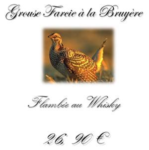 Plat la Grouse Restaurant Hotel le Marie Stuart à la Roche sur Yon