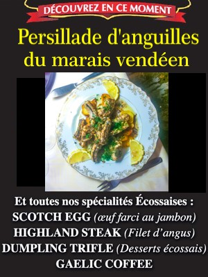 Persillade anguilles menu restaurant laroche sur yon menu 21,90